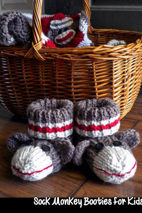 Sock Monkey Booties for Kids Knitting Pattern