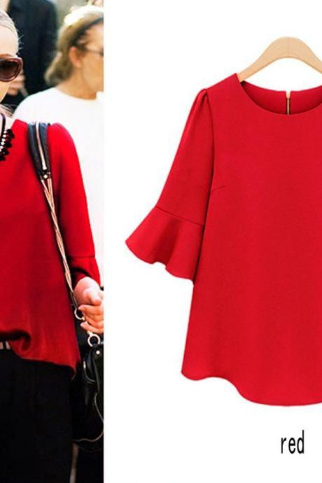 women lady Summer Blouse Fashion Casual Chiffon Lotus Sleeve Blouse Tops Shirt Red