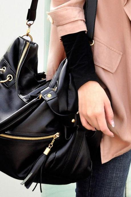 Korean Women's Tassel Shoulder Bag Large Capacity Handbag Black
