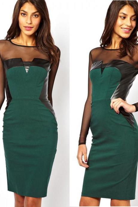 67771b435f1 New Style Mesh Splicing Backless Sexy Slim Cocktail Party Bodycon Dress