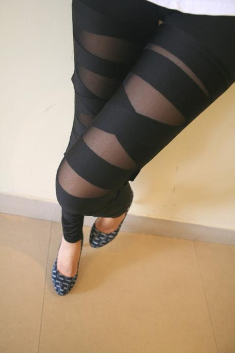 Bandage Style Black Slim Fit Leggings