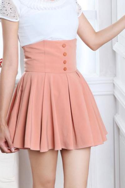 New Casual Women Sexy Chiffon Retro High Waist Double Layer Short Pleated Mini Skirt Dress