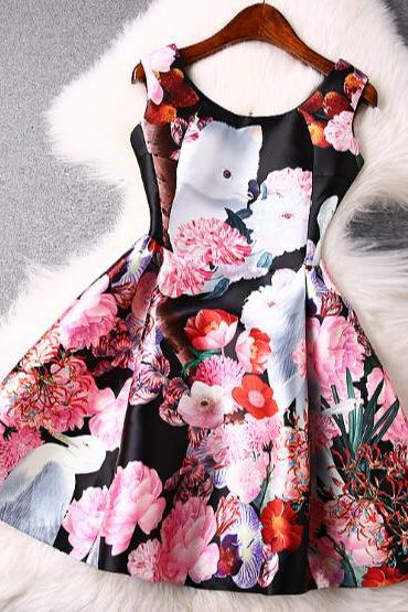 Color printing round neck sleeveless vest dress ER30414PO