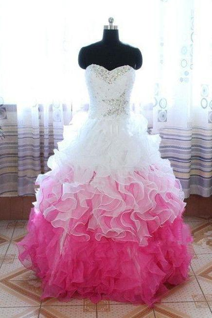 Lovely Ball Gown White and Pink Lace-up Back New Style Prom Gown 2015, Prom 2015, Pretty Gown 2015, Formal Gown 2015