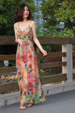 Spring Summer Autumn And Winter 2015 Mulberry Silk Dress Is Manual Nail Bead Condole Silk Skirt Bohemian Dress Beach