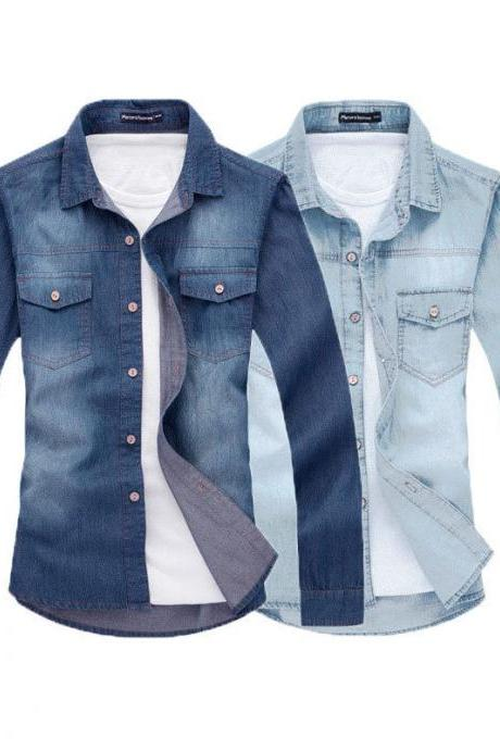 Fashion Men Top Denim Casual Shirt Luxury Stylish Wash Slim Fit Shirts