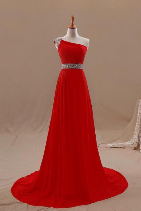 Red Chiffon One Shoulder Sweep Train Bridesmaid Dress