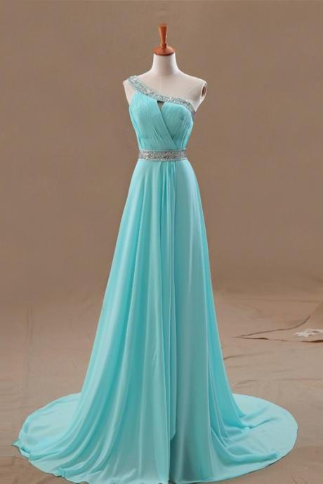 Ice Blue One-Shoulder Ruched Beaded Chiffon A-line Long Prom Dress, Evening Dress, Bridesmaid Dress