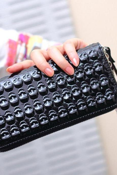 New PU leather Women Solid Skull Long Clutch Wallet Purse Holder Bag M-B037