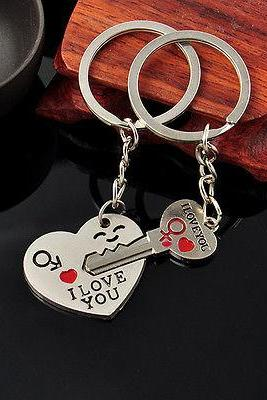 Romantic Cute 'I Love You' Heart+Arrow + Key Couple Keyring to Your Lover Gift