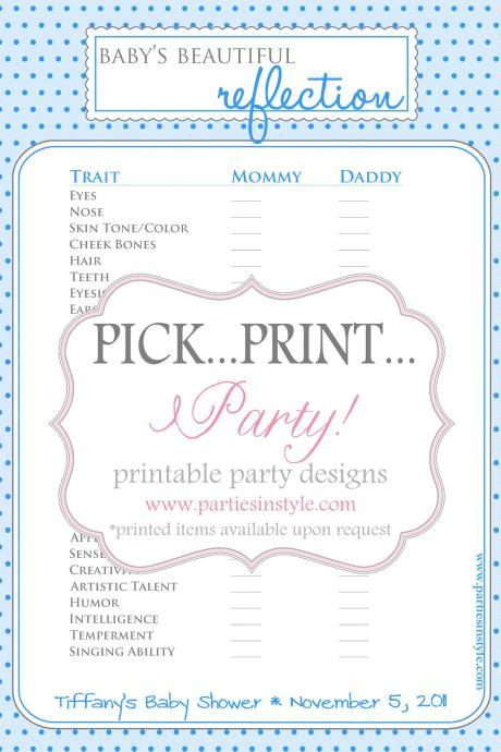 Baby Shower Game - Baby's Beautiful Reflection - Printable DIY