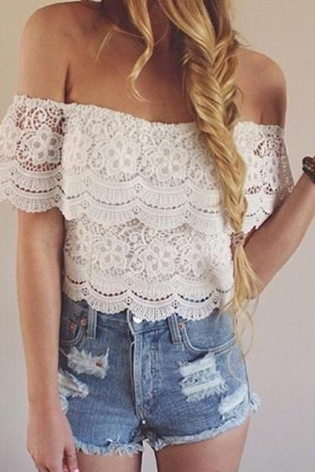 White Lace Off-The-Shoulder Copped Top with Scallop Design