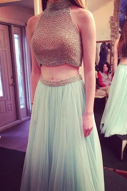 Pd341 Sexy Prom Dress,Beading Prom Dress,High Neck Prom Dress,Chiffon Prom Dress,A-Line Prom Dress