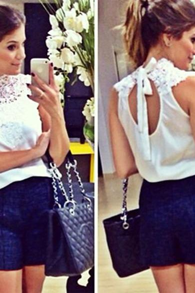 New Fashion Lady Women's Fashion Lace And Chiffon Blouse Backless Sleeveless Sexy Tops Blouse