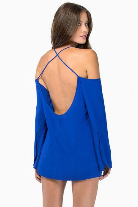 Sexy Women Summer Loose Casual Off-shoulder Chiffon Long Sleeve Vest Shirt Backless Halter Wrap Tops Blouse Pullover