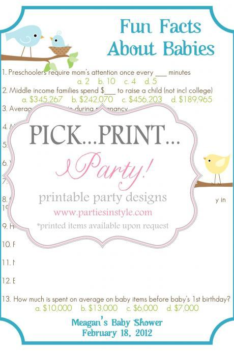 Baby Shower Game - Fun Facts About Babies Trivia - Printable DIY