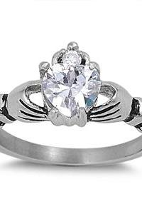 Sterling Silver Cubic Zirconia Claddagh Ring 10mm 2ctw Sizes 5-10