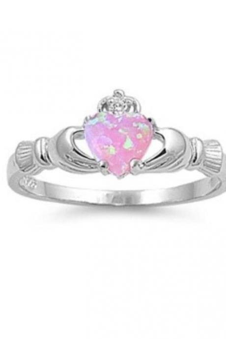 Sterling Silver Pink Lab Opal Claddagh w/ CZ 9mm 2ctw Sizes 4-6 and 8-12