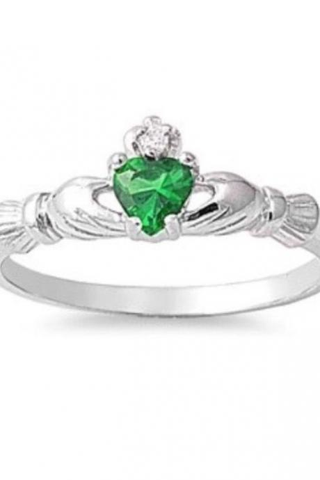Sterling Silver Natural Emerald Gemstone Claddagh w/ CZ 7mm Sizes 6-9