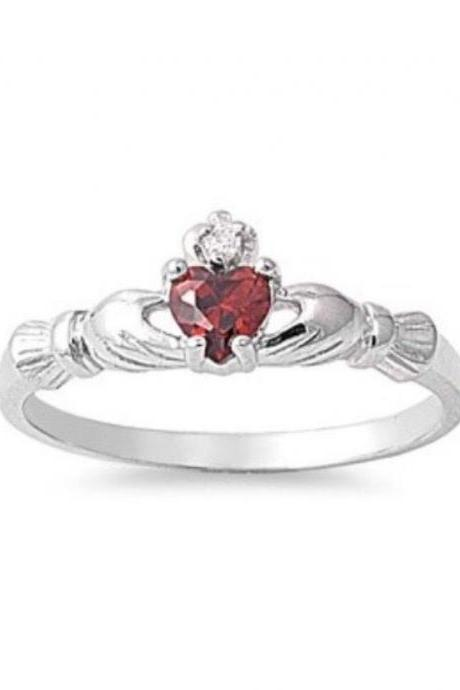 Sterling Silver Natural Gemstone Red Garnet Claddagh W/ Cz Sizes 3-10