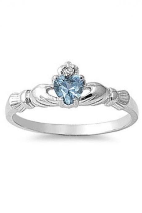 Sterling Silver Natural Gemstone Aquamarine Claddagh 7mm w/ CZ Sizes 1-9