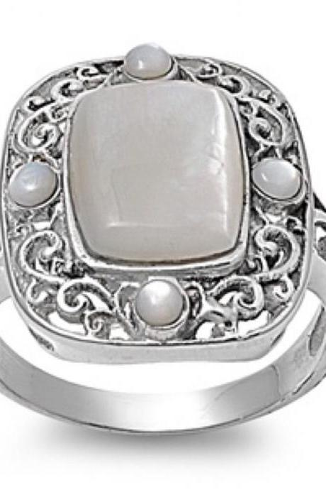 Radiant Sterling Silver Mother Of Pearl Ring Size 6,7,8 And 10 Sold Out Of 9