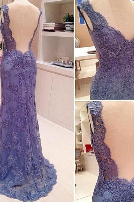 Elegant Lace Sheath Formal Prom Gown With Open Back