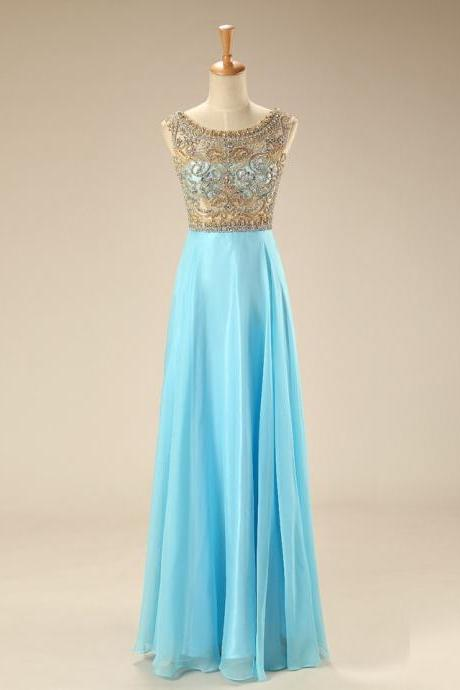 2015 Light Blue Chiffon Prom Dress With Beaded Sheer Bodice