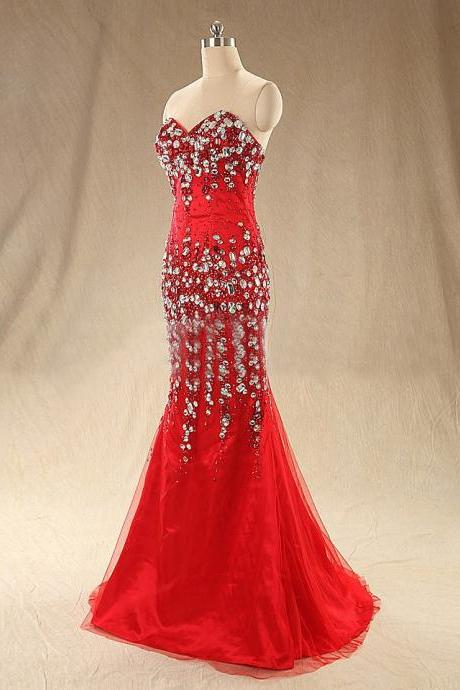 Red Sweetheart Mermaid Evening Gown With Crystals