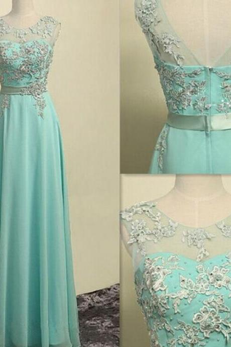 Mint Green Chiffon Long Prom Dress With Lace Appliques