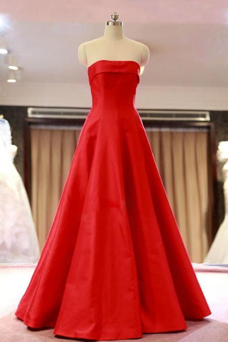 2015 Red Satin Strapless A Line Evening Gown