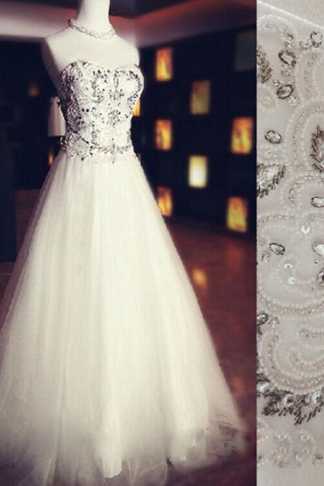 2015 White Tulle Sweetheart Beaded Ball Gown Prom Dress