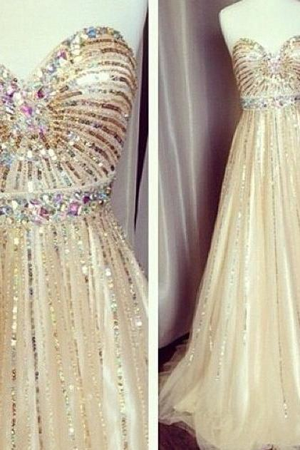 Champagne Sweetheart A Line Prom Dress With Sequins