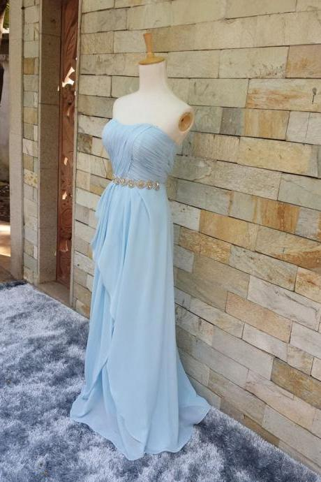 Custom Handmade Light Blue Chiffon Long Prom Dresses 2015,Blue Prom Gown,Simple Prom Dresses, Evening Dresses