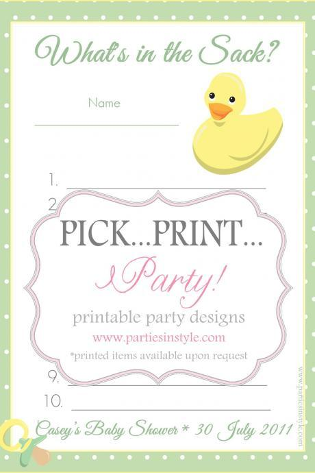 Baby Shower Game -What's in the Sack - Printable DIY