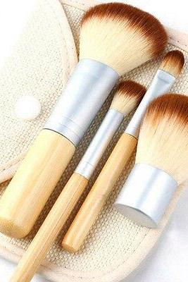 1x Bamboo Handle 4PCS Professional Makeup Foundation Brush Set Flap Top With Bag