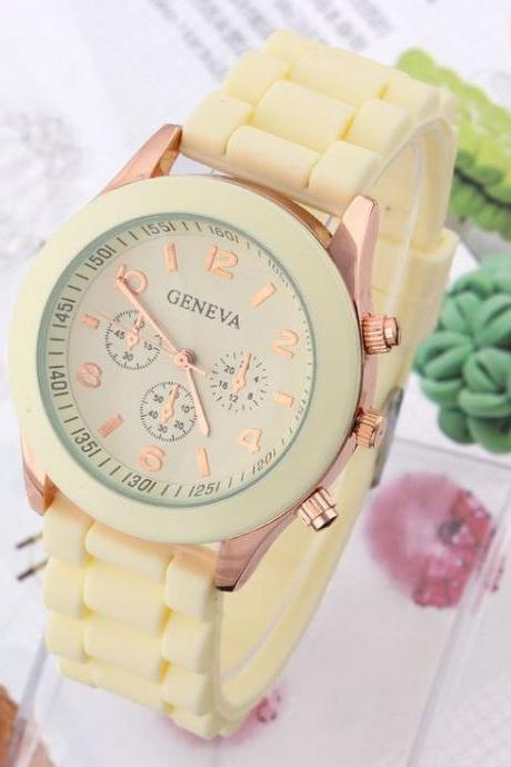 Rubber beige sport school girl trendy watch