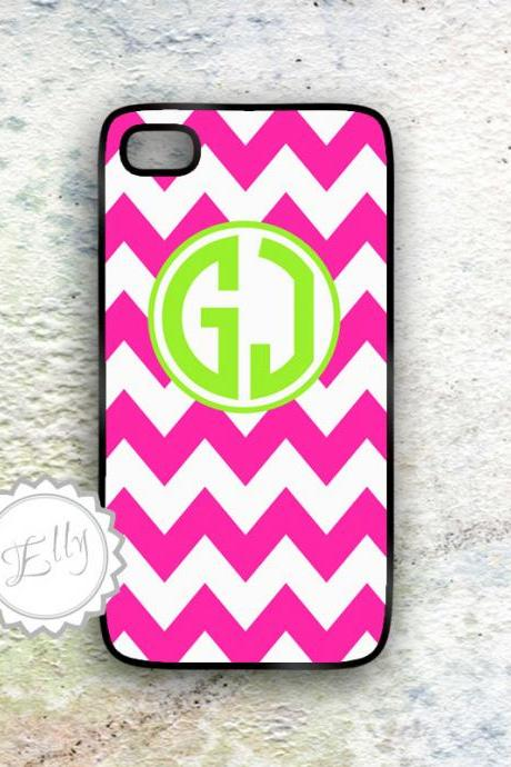 iphone 4s in case hot pink chevron custom monogram hard cover