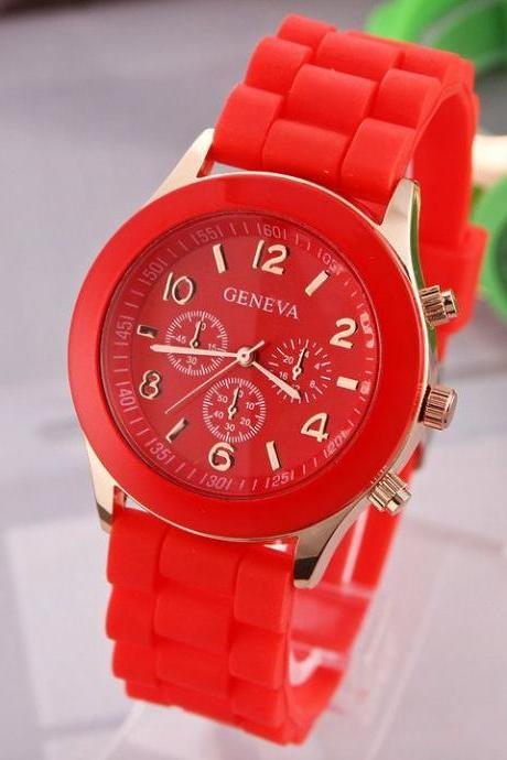 Rubber red sport school girl trendy watch