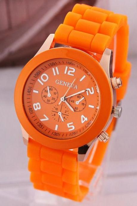 Rubber orange sport school girl trendy watch