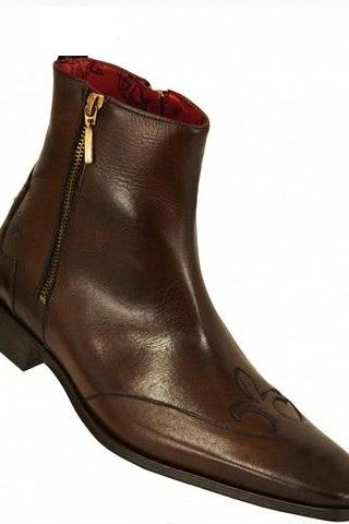 MEN HANDMADE BROWN GENUINE LEATHER BOOTS, MEN ANKLE-HIGH BROWN DRESS AND CASUAL LEATHER BOOTS