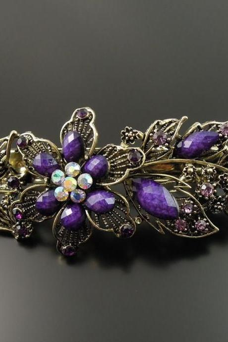 Woman Antiqued PURPLE Crystal Rhinestone Flower Barrette Hair Clip Gift 1pc