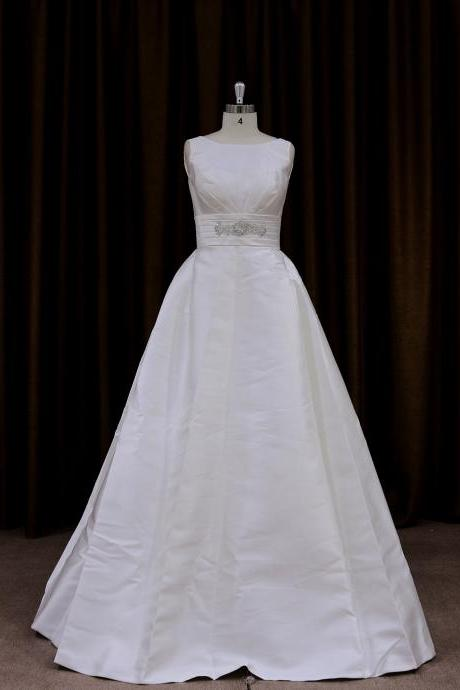Cheap Satin Sleeveless Chapel Train A Line Bridal Gown With Bow Detail