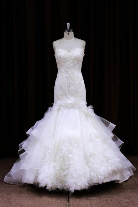 2015 Lace Sweetheart Mermaid Wedding Dress With Ball Gown Skirt