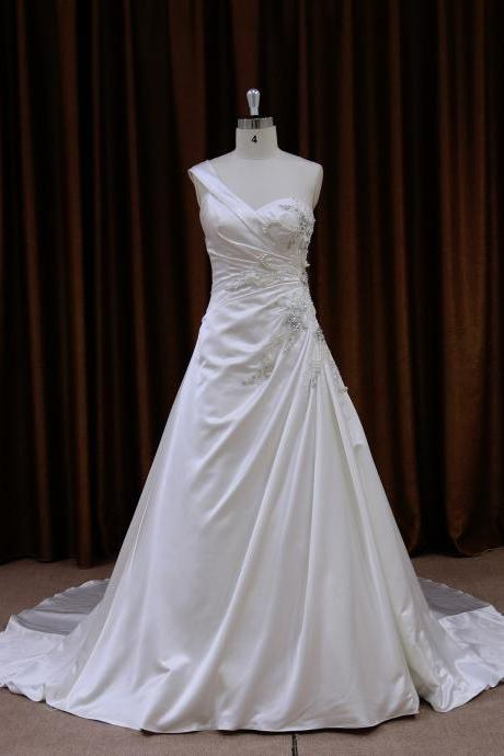Satin One Strap Chapel Train A Line Wedding Dress With Lace Up