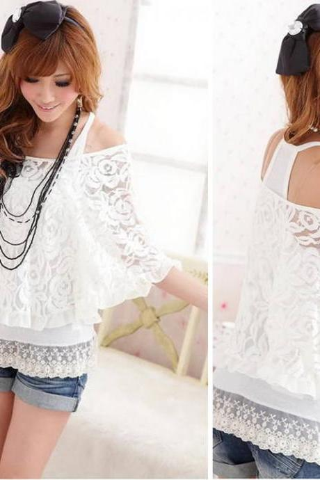 White Lace Long Sleeves Top Boho Hippie Chic