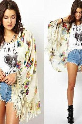 New Vintage Retro Boho Hippie Casual Chiffon Top Kimono Coat Cape Blazer Jacket