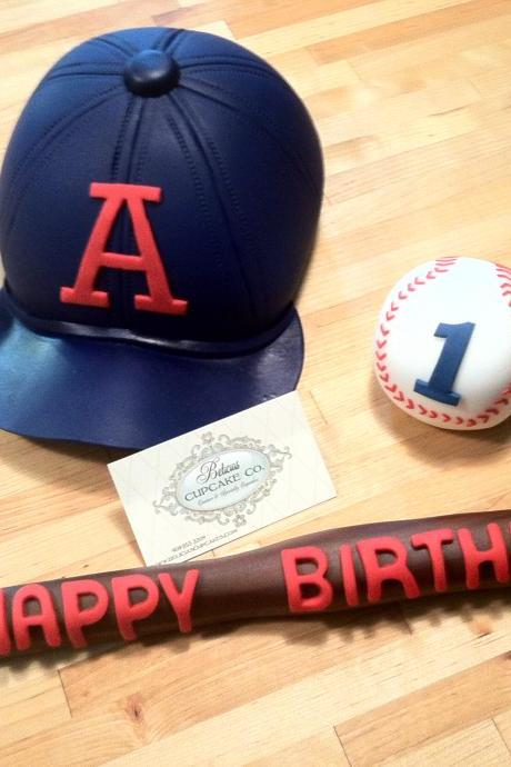 Fondant Baseball Hat, Baseball, Bat, Perfect for Birthdays, Any baseball lover