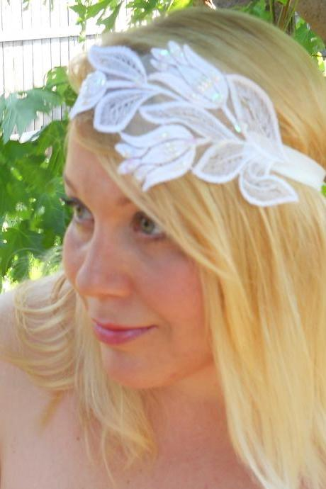 Pure White Floral Embroidered Embellishment Wedding Bridal Occasion Headband Winter or Spring Wedding