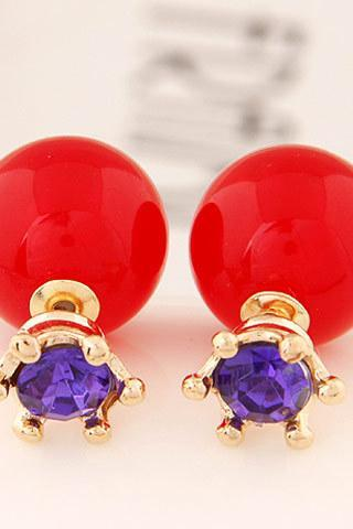 *Free Shipping* Super Deal Brand Cheap Double Pearl Earrings Colorful Statement Zircon Channel Stud Crystal Earring Wedding Jewelry For Women